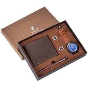 A Set Of Quartz Watch Leather Wallet And Executive Pen PGSLTD