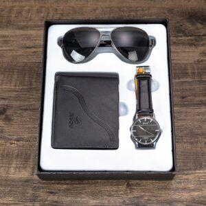 Jesou Gift Set -Quartz Watch Leather Wallet And Sunglasses Black