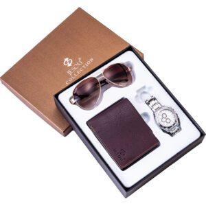 Set of Quartz Watch Leather Wallet And Sunglasses PGSLTD