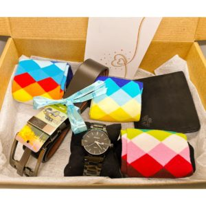 Men's Curated Hamper- Watch, Wallet, 3 Pairs of Happy Socks and a Belt
