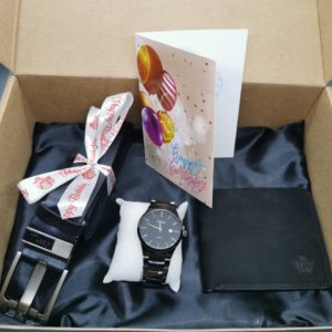 Watch, Belt, Wallet and a Complimentary Card Gift Hamper Set