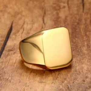 Fashionable Stainless Steel Gold Plated Men Punk Style Ring