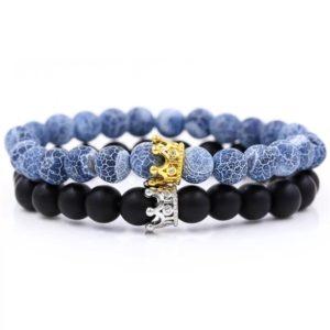 Black and Blue Royal Stone Beads Elastic Wrist Bracelets