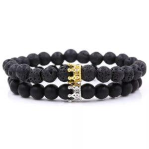 Black Marble Stone Beads Wrist Bracelets