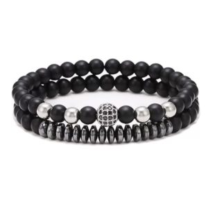 Black Stone Beads Elastic Wrist Bracelets