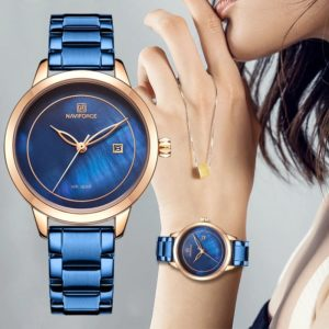 NAVIFORCE  N-5008L Women-Watch-Stainless-Steel-Lady-Wristwatch-Fashion-Water resistant-Ladies-Watches-Simple-Blue-Girl-Wrist watch