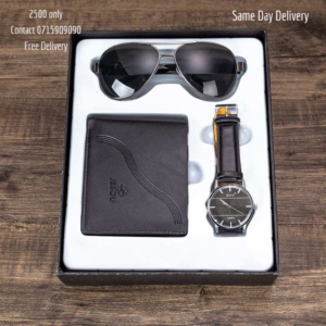 Men Gift Set Beautifully Packed Quartz  Wrist Watch Cool Sunglasses and Wallet