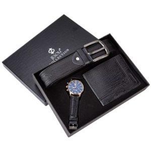 Men Quartz Wrist Watch Belt and Wallet Gift Set