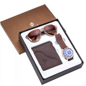 Men Quartz Wrist Watch Cool Sunglasses and Wallet Gift Set