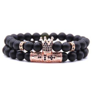 Royal Men Stone Beads Elastic Wrist Bracelets