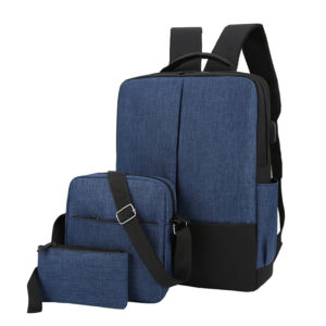 Set of 3 Bags - Backpack Laptop Bag With Pouch Brand-Blue Black