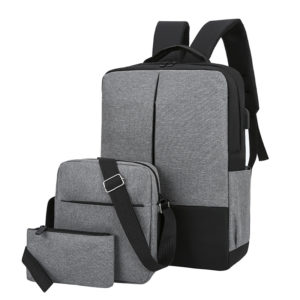 Set of 3 Bags - Backpack Laptop Bag With Pouch Brand-Grey Black