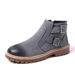 Men's Suede Casual Slip-on Rubber Sole Ankle Boots Brown