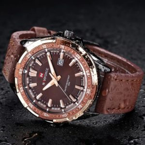 Naviforce N-9056M  Brown leather strap Auto Date Complete Calendar Water Resistant Pin Buckle Closure Wrist Watch