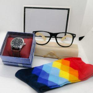 Quartz Wrist Watch, A Pair of  Happy Socks and Sunglasses Hamper