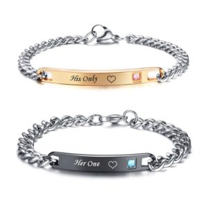 Engravable Stainless Steel Couples Bracelets