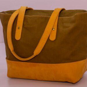 Waxed Canvas and Leather handmade handbag