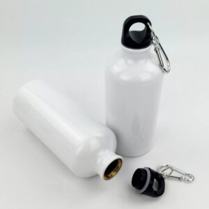 Water Bottle. 0.5 Litre Quantity, White In Color With A Black Lid.