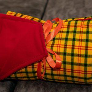 Yellow Checked Comfy Maasai Shuka & Red Fleece Blanket