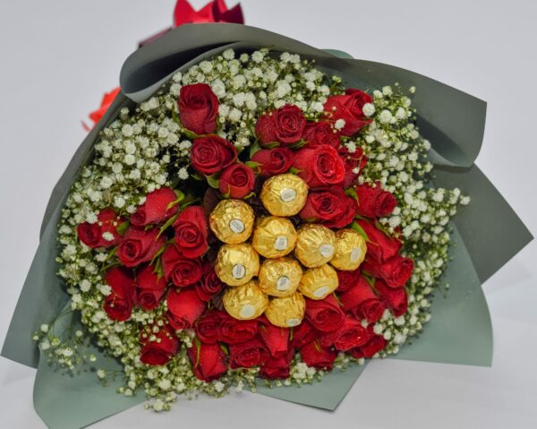 Abby Beautiful Bouquet of Red Roses, Baby Breath Flowers and Ferrero Rocher Chocolates