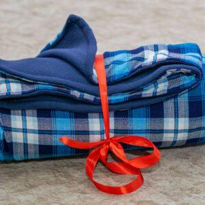 Blue Checked Maasai Fleece Blanket
