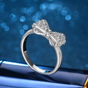 Bow Sterling Silver Ladies Ring