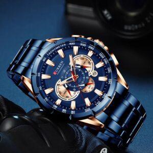 CURREN M-8363 Blue Men Analog Quartz Watch
