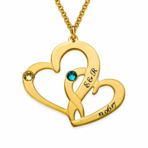 Entwined Love Heart Pendant Necklace - Gold.
