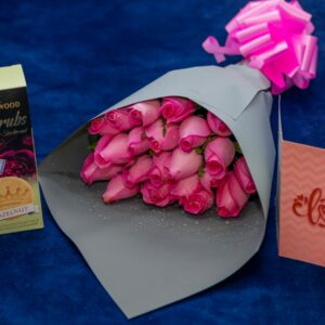Exotic Pink Roses Flower Bouquet with Wedgewood Cherubs Biscuits