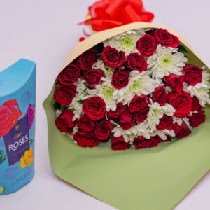 Fresh Red Roses and White Chrysanthemums Flower Bouquet and Cadbury Roses Chocolate