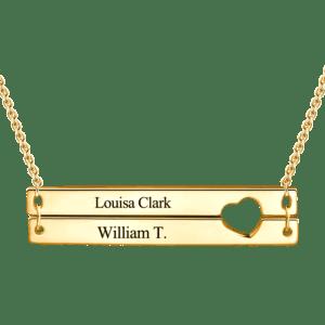 Gold plated Broken Bar Love Necklace