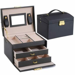 Jewelry Organizer Holder Case For Earrings, Necklaces, Bracelets And Rings. -Black