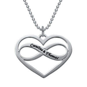 Love Pendant Necklace with Infinity Sign- Silver