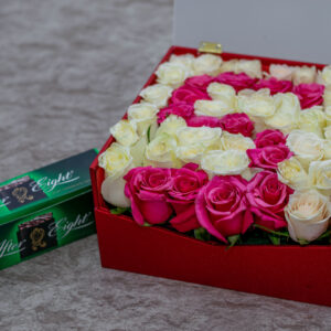 Mixed Pink and White Roses in a Flower Box and Curren Quartz Ladies Watch and a Packet of After Eight Chocolate