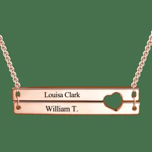 Rose Gold Broken Bar Love Necklace