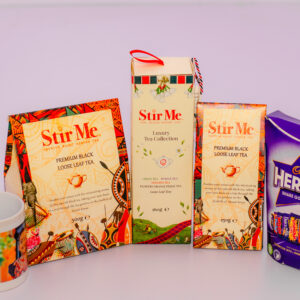 Stir Me Luxury Tea, Black Tea Loose Tea  250 and 500 Grams a Packet of Cadbury Heroes Chocolate a Packet of Milka Chocolate and a Branded Mug
