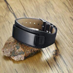 Black Genuine Leather Engravable Bracelet