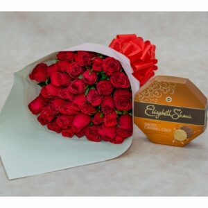 Bouquet of Red Rose Flowers & Elizabeth Shaw Chocolates Pack