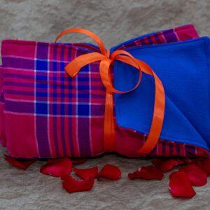 Bright Pink  & Blue Maasai Fleece Blanket
