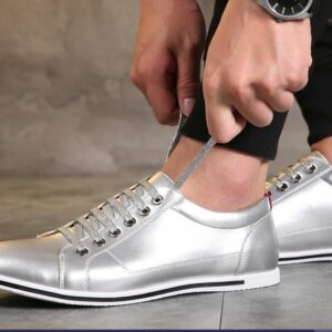 Casual Split Leather Unisex Lightweight Silver Shoes