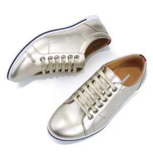 Casual Split Leather Unisex Lightweight Gold Shoes