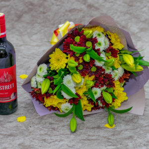 Chrysanthemums and Tiger Lilies Bouquet and 4th Street Wine