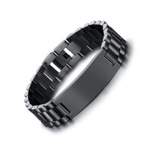 Custom Engravable Black Stainless Steel Bracelet