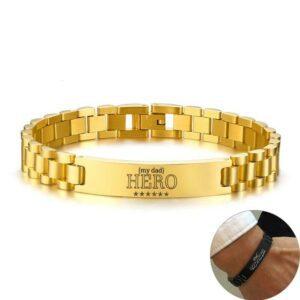 Custom Engravable Gold Stainless Steel Bracelet