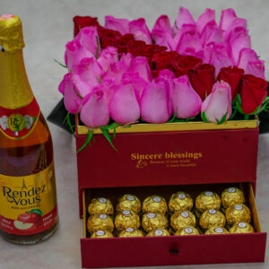 Exquisite Flower Box-Pink Roses and Red Roses with Ferrero Rocher Chocolates