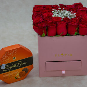 Fancy Flower Box-Red Roses and Baby Breath Flowers with Ferrero Rocher Chocolates