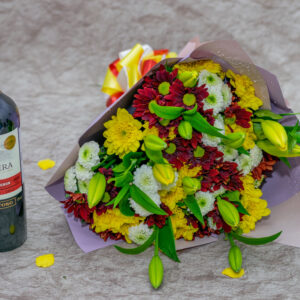 Frontera Wine, Tiger Lilies and Daisies Flower Bouquet.