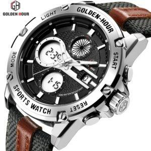 GOLDEN HOUR GH-116 Men's Watch- Canvas Straps