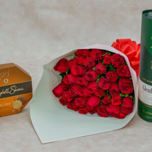 Hightower Flower Box-with Mixed Red and White Roses and Ferrero Rocher Chocolates
