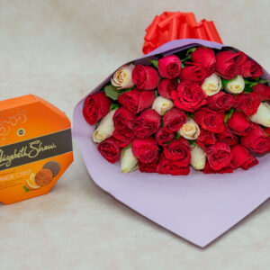 Mixed Red and White Roses and Elizabeth Shaw Chocolate Pack-  Orange Crisp